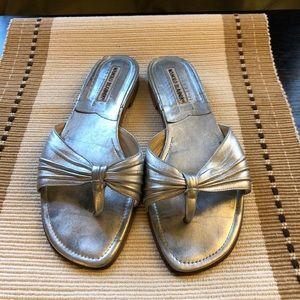 Manila Blahnik Flat Silver Sandals